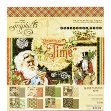 Graphic 45 4502118 Christmas Time 8' x 8' Papercrafting Paper