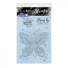 Hunkydory Crafts- for The Love of Stamps - Gemstone Butterfly Sparkle A6 Stamp - FTLS822