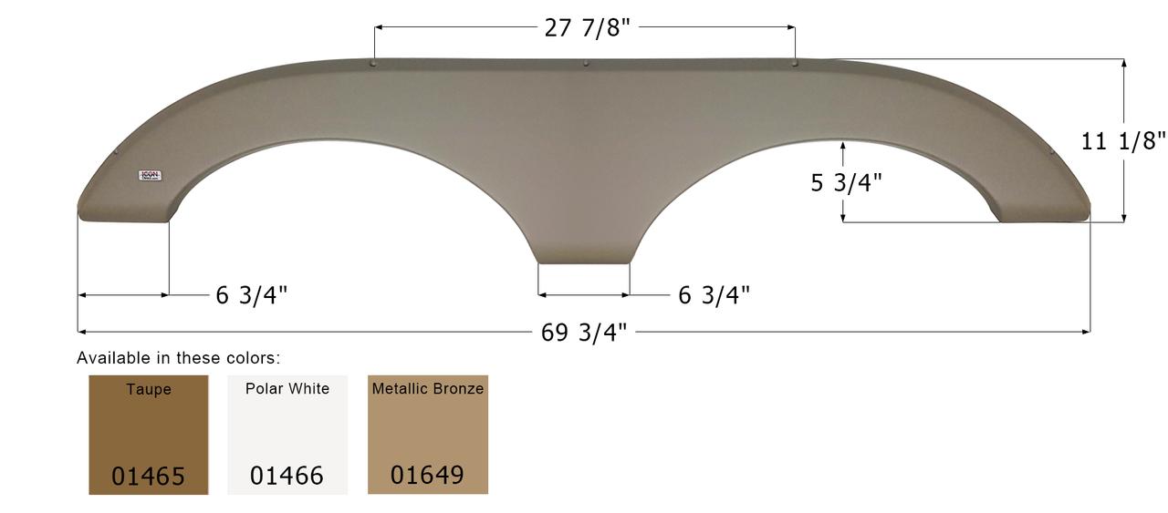Icon Metallic Olive Grey 12293 Keystone Tandem Fender Skirt FS2293-Metallic