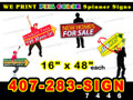 "Arrow Spinner Sign 16"" x 48"" Full Color BOTH SIDES PRINT, LOCAL PICKUP"