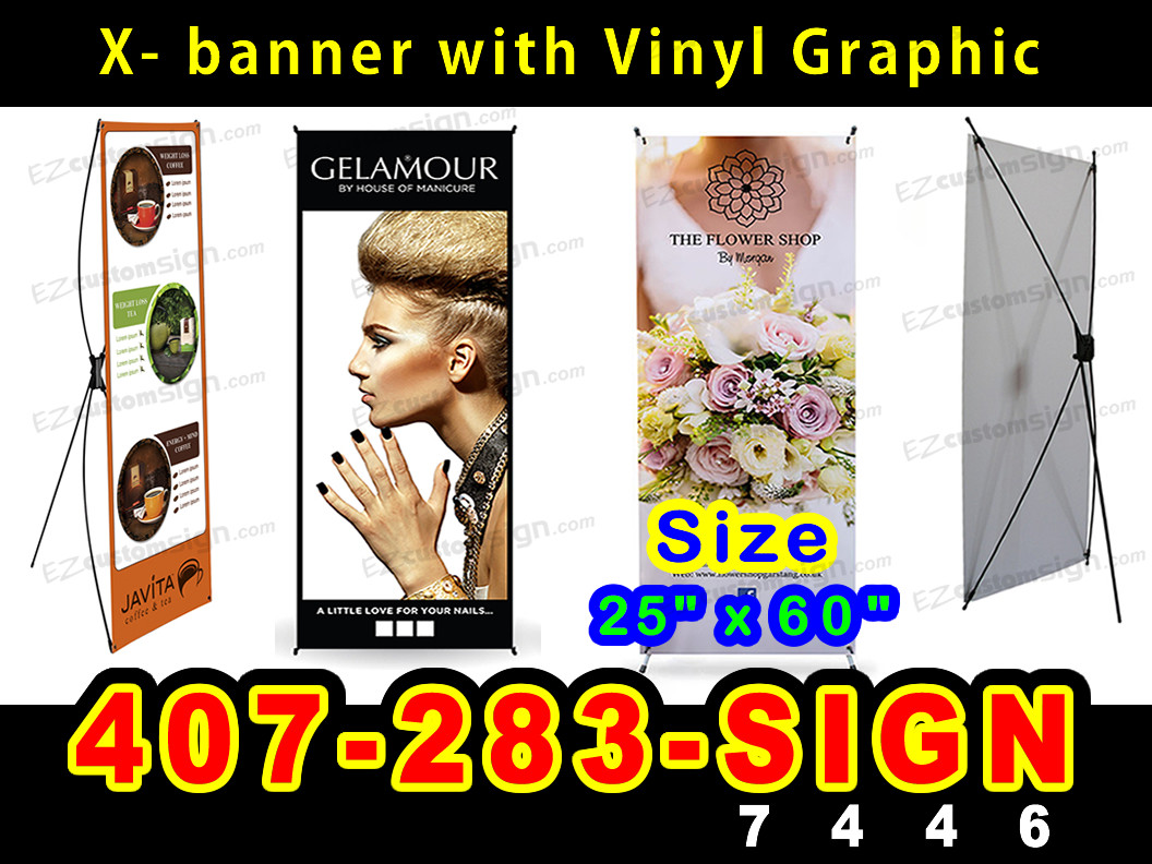 24 x 63 Printed Full Color Younique Banner with X Stand