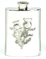 Pewter Hip Flask - Stamped Thistle Scene, 4 oz
