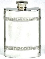 Pewter Hip Flask - Celtic Wire, 6 oz