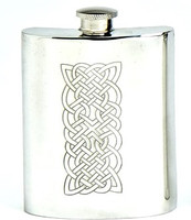 Pewter Hip Flask - Celtic Panel Engraved, 6 oz