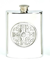 Pewter Hip Flask - Celtic Cross, 6 oz
