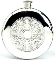 Pewter Hip Flask - Celtic Sporran Round, 6 oz