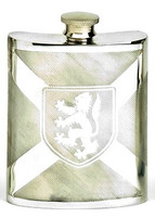 Pewter Hip Flask - Scotland Flag With Lion, 6 oz