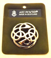 Art Pewter Round Celtic Knot Swirl Brooch
