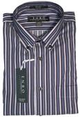 Enro Non-Iron Button Down Collar Navy Stripe Big & Tall Sportshirt
