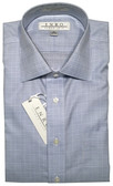 Enro Non-Iron Spread Collar Blue Plaid Dress Shirt
