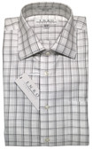 Enro Non-Iron Spread Collar Grey Grid Dress Shirt
