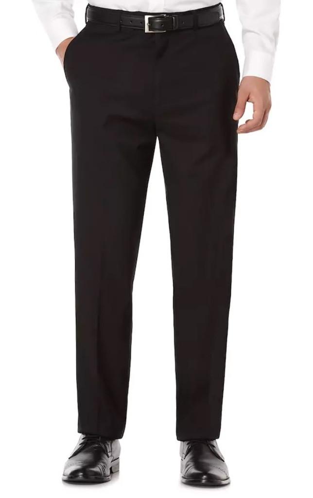 6201c55a26 Savane Men's Active Flex Tailored Fit Flat Front Dress Pant. Your Price:  $49.99 (You save $28.01). Black