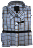 FX Fusion Light Blue Plaid Sportshirt