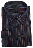 Fusion Black/Burgundy/Blue Stripe Big & Tall Sportshirt