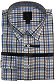 Fusion Blue/Tan Check Big & Tall Sportshirt