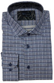 BLU by Polifroni Spread Collar Blue Grid Sportshirt
