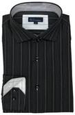 BLU by Polifroni Spread Collar Black Stripe Sportshirt