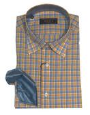 Serica Classics Spread Collar Orange Grid Sportshirt