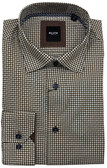 Serica Elite Hidden Button Down Collar Brown Patterned Sportshirt