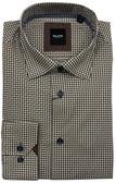Serica Elite Hidden Button Down Collar Brown Patterned Sportshirt