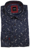 Serica Elite Hidden Button Down Collar Black Paisley Sportshirt