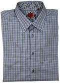 R.E.V. Hidden Button Down Collar Blue Grid Sportshirt