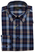 Polifroni Hidden Button Down Collar Purple Plaid Sportshirt