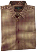 Polifroni Hidden Button Down Collar Tan Grid Sportshirt