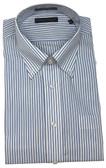 Enro/Damon Ultra Poplin Button Down Collar Blue Stripe Dress Shirt - 164188