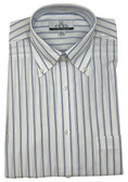 Enro/Damon Ultra Poplin Button Down Collar Blue Stripe Dress Shirt - 110102