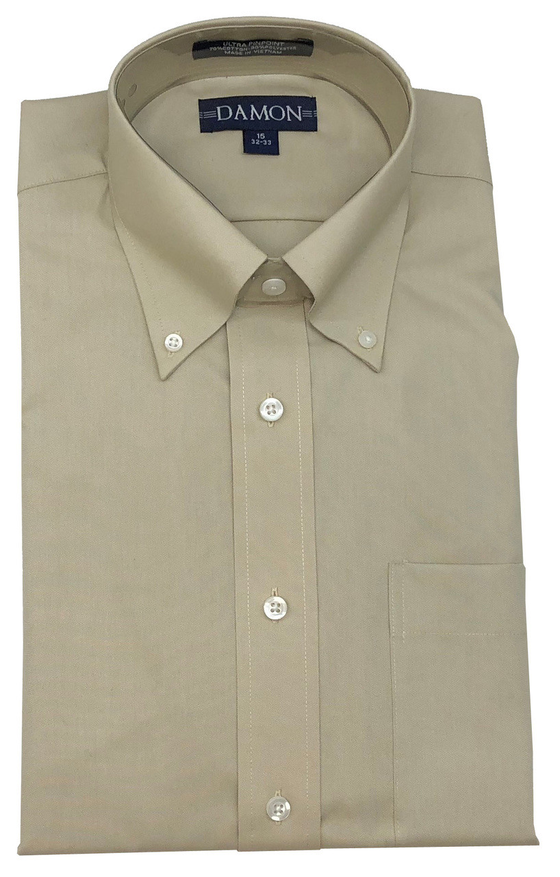 Damon Solid Colors Ultra Pinpoint Button Down Big and Tall Dress Shirts