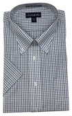 Enro/Damon Ultra Poplin Button Down Collar Short Sleeve Multi Check Dress Shirt - 151586