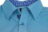 Fusion Teal Micro Print Short Sleeve Sportshirt