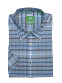 Forsyth of Canada Classic Fit Non-Iron Short Sleeve Large Check Sport Shirt 8147S-SKY