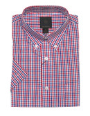 Fusion Red/Royal Check Short Sleeve Sportshirt