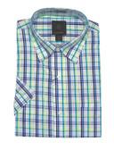Fusion Lime Green Plaid Short Sleeve Sportshirt