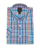 Fusion Turquoise Gingham Short Sleeve Sportshirt