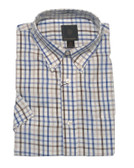 Fusion Ecru/Blue Check Short Sleeve Sportshirt