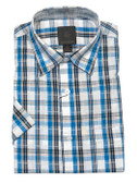 Fusion Aqua/White Multi Plaid Short Sleeve Sportshirt