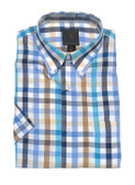 Fusion Aqua Multi Check Short Sleeve Sportshirt