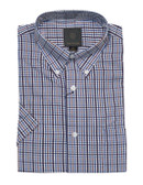 Fusion Blue Overplaid Short Sleeve Sportshirt