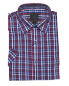 Fusion Red/Blue Check Short Sleeve Sportshirt