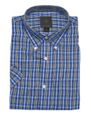 Fusion Lime/Blue Check Short Sleeve Sportshirt