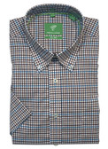 Forsyth of Canada Classic Fit Non-Iron Short Sleeve Mini Grid Sport Shirt 8322S-TEL