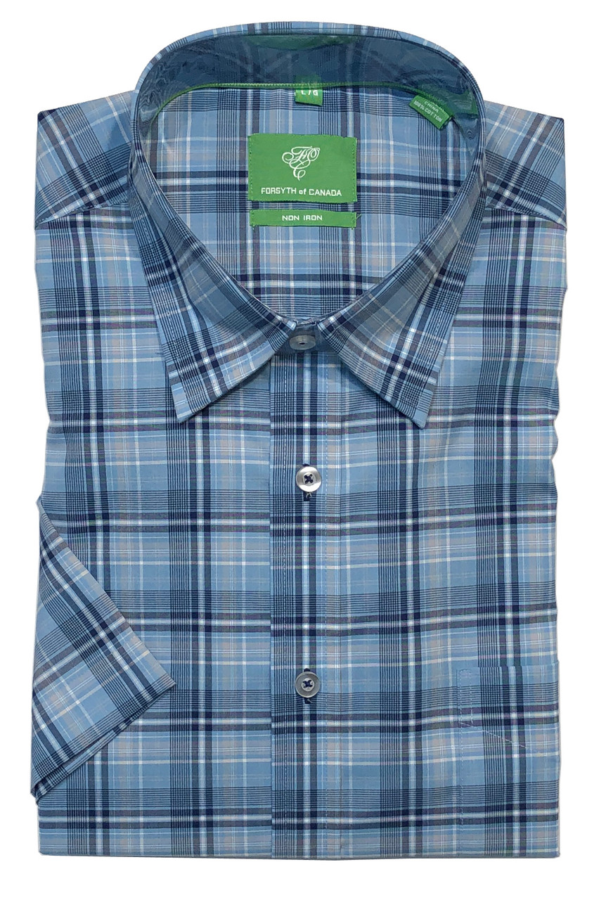 Forsyth of Canada Classic Fit Non-Iron Short Sleeve Multi Grid Sport Shirt