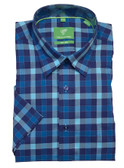 Forsyth of Canada Classic Fit Non-Iron Short Sleeve Grid Check Sport Shirt 8324S-TRQ