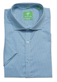 Forsyth of Canada Classic Fit Non-Iron Short Sleeve Mini Print Sport Shirt 8474S-TEL