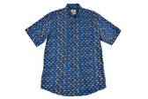 Trend by Fusion Navy Vintage Cars Short Sleeve Stretch Sportshirt