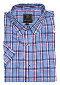 Fusion Blue/Red Plaid Short Sleeve Sportshirt