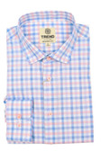 Trend by Fusion Blue/Coral Check Stretch Modern Fit Sportshirt